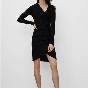 Aritzia Wilfred Black Chen Wrap Dress Small